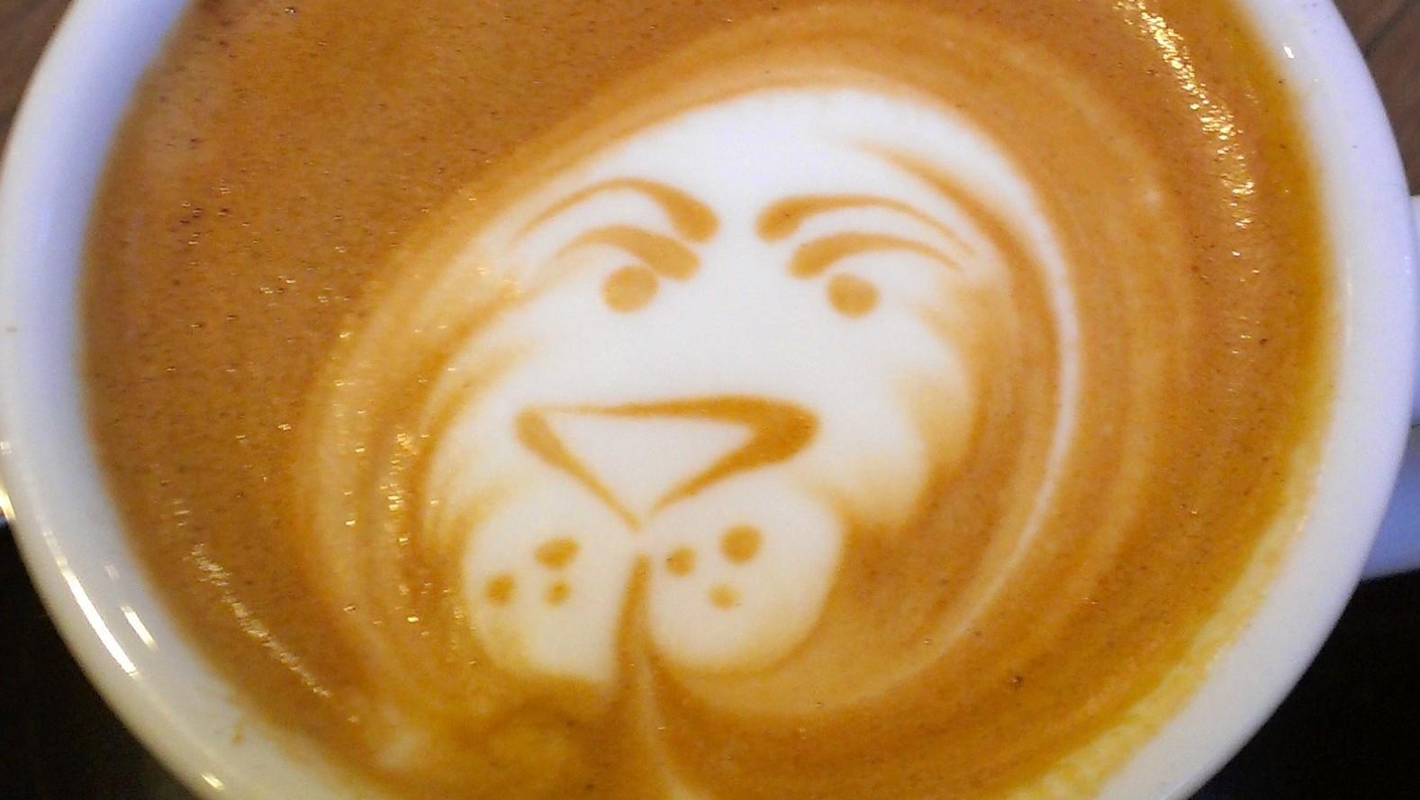 Latte art of lion