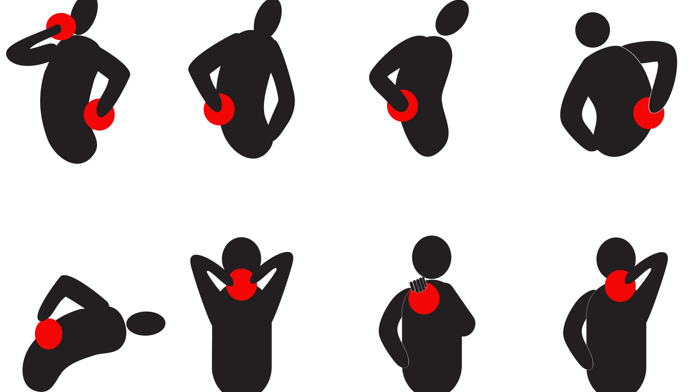 Black human silhouettes pointing to various points of pain indicated by red dots