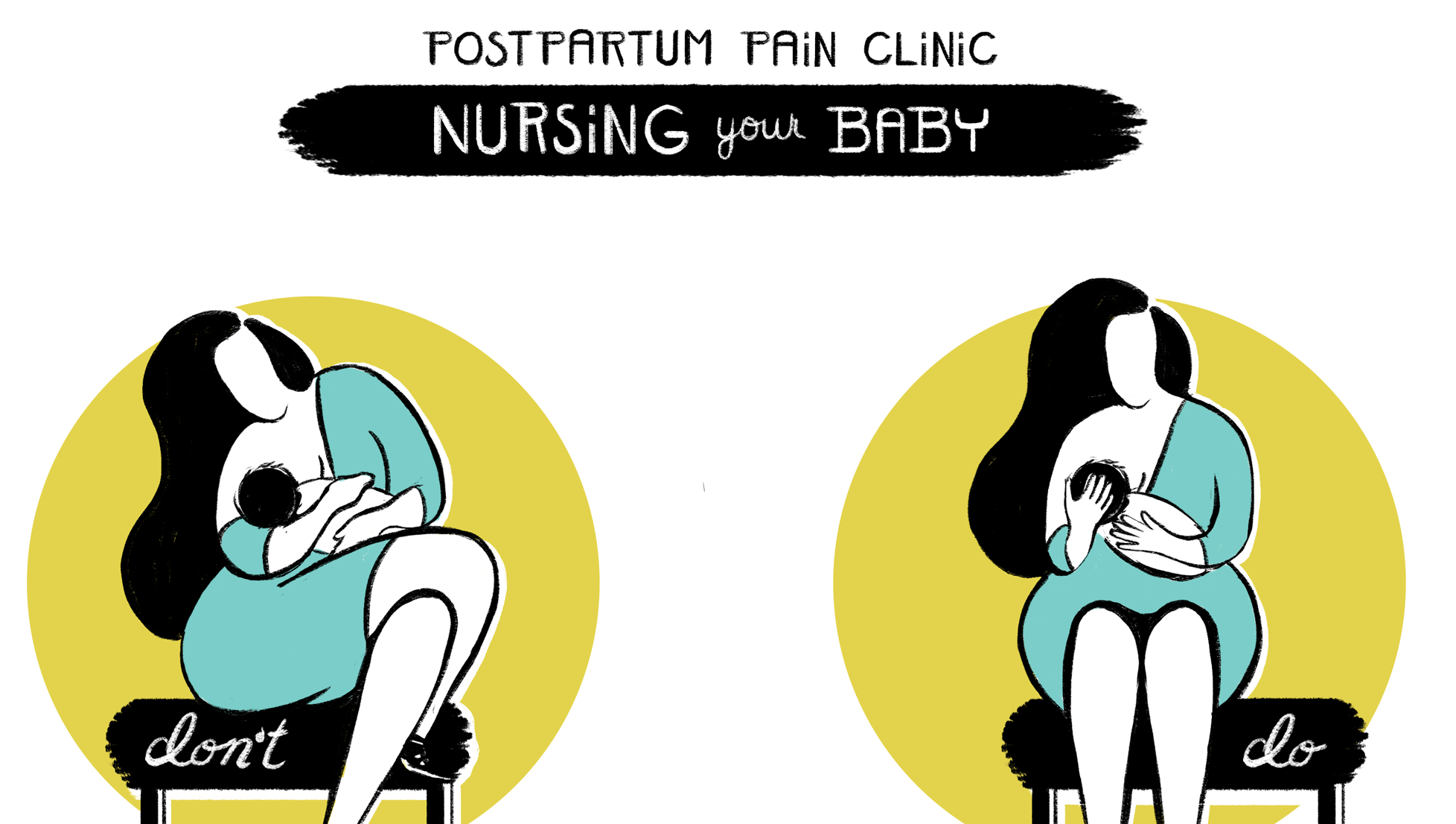 """Yellow, blue and black Cartoon image of woman breastfeeding baby demonstrating an image for """"don't"""" and """"do"""" in relation to the recommended posture of how to nurse a baby to avoid back pain"""