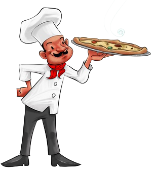 Cartoon image of chef holding a pizza