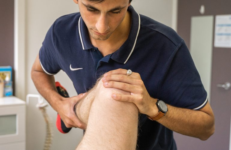 Jayden treating knee in Templestowe