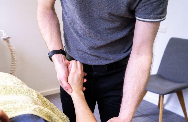 Evan treating inner arm