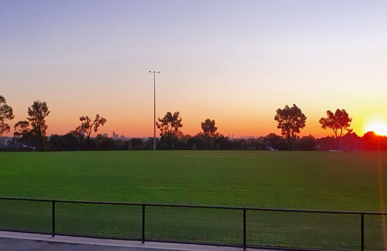 Sunsetting over oval
