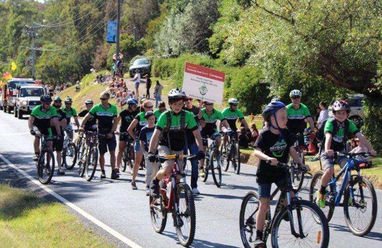 Warrandyte mountain bike riders on street