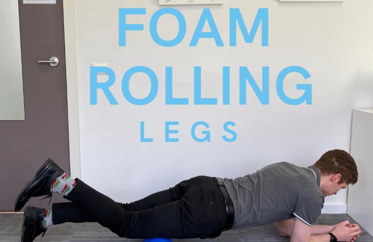 Foam rolling legs